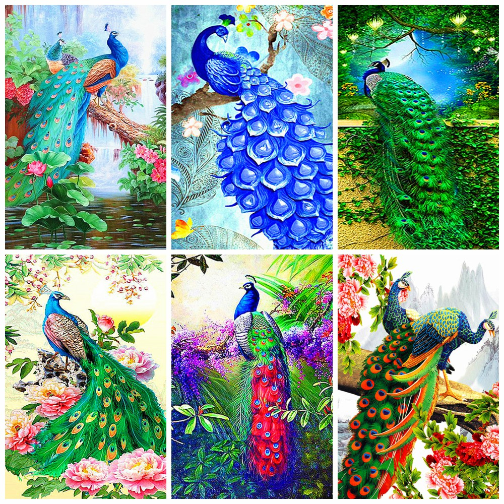 Der PFAU 5D DIY Full Drill Square Diamond Painting Animals Cross Stitch Kits