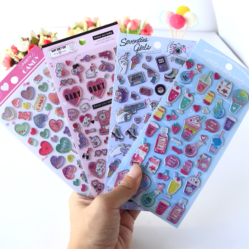 Laser Love Sweet Candy Bullet Journal Cartoon Decorative Stationery Stickers Scrapbooking DIY Diary Album Stick Label