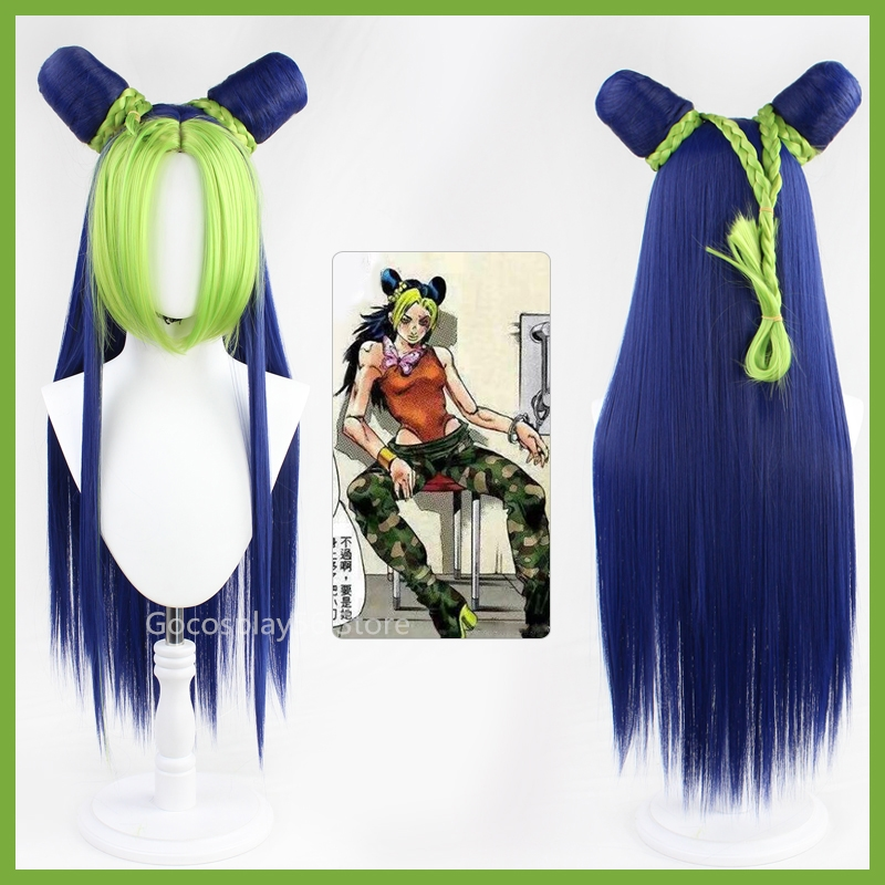 JoJo's Bizarre Adventure Golden Wind  Jolyne Cujoh Kujo Green Synthetic Wig Long Version Buns Braids JoJo No Kimyou Na Bouken