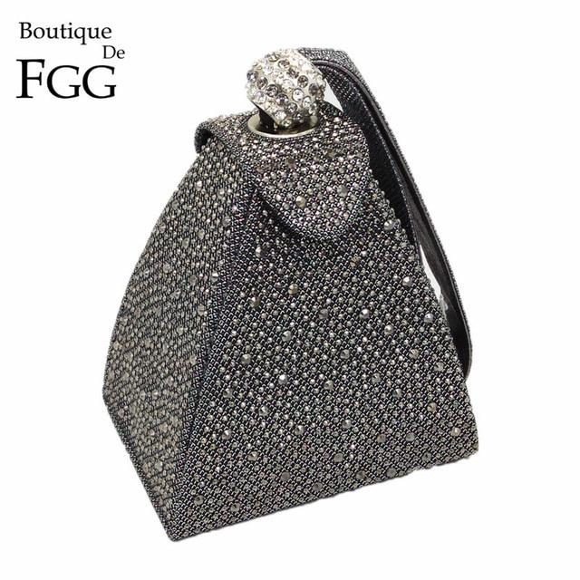 VINTAGEเพชรเจ้าสาวมินิสีเทาพีระมิดPARTYกระเป๋าถือผู้หญิงกระเป๋าสตรีกระเป๋าถือคริสตัลคลัทช์กระเป๋า