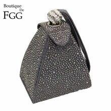 Vintage elmas gelin düğün çanta Mini gri piramit parti çanta kadın çantası bileklikler manşonlar kristal akşam el çantası