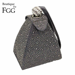 Image 1 - Vintage elmas gelin düğün çanta Mini gri piramit parti çanta kadın çantası bileklikler manşonlar kristal akşam el çantası