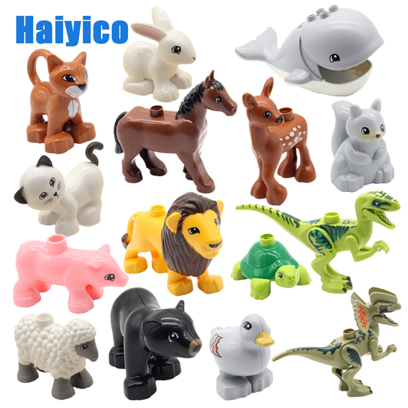 animals big building blocks Model Figures accessories compatible Duplos zoo Dinosaur eggs duck Velociraptor education Toys gift