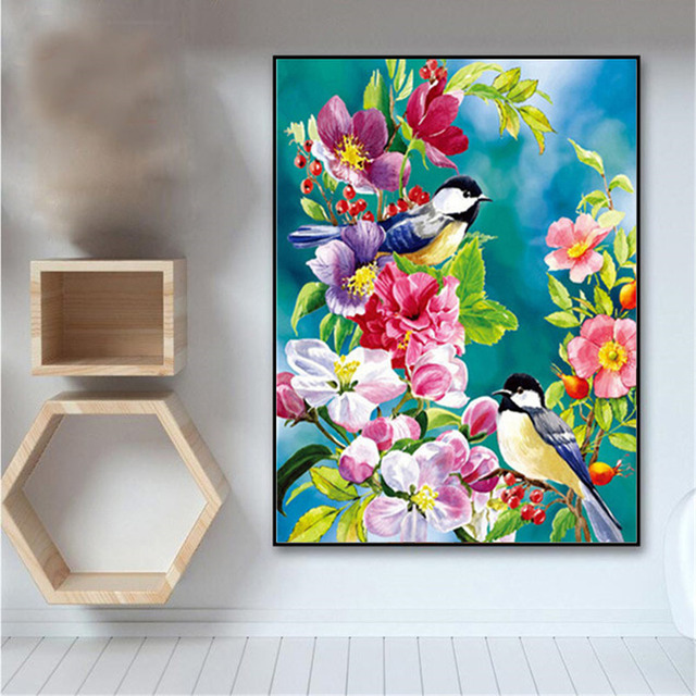 Painting By Numbers  Blue Tits Blossom Spring Flowers