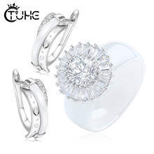 Wedding Jewelry Set Healthy Elegant Bride Crystal Stud Earrins Ceramic Rings Dubai Jewelry Sets Wedding Jewelry Gift for Wonen(China)