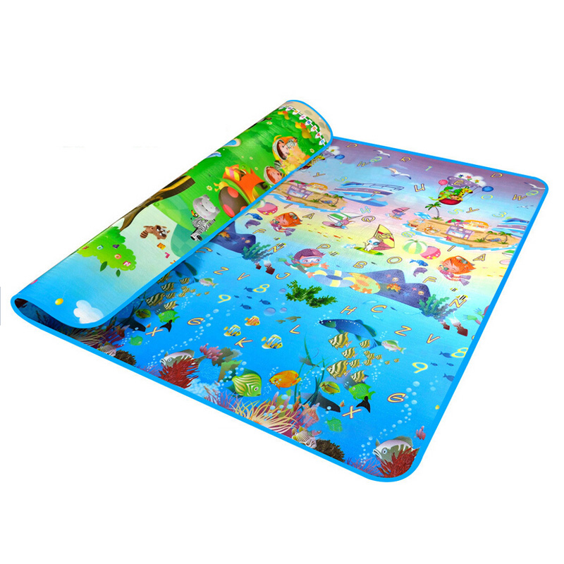 Double Side Waterproof Baby Toddler Soft Crawling Mat Picnic Blanket Play Mat-Animal Car+ocean