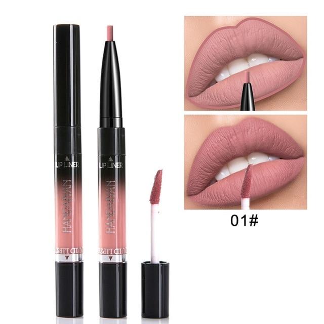 HANDAIYAN 2 In 1 Lip Liner Pencil Lipstick 14 Color Lip Makeup Matte Waterproof Long Lasting Nude Lip Tint Cosmetic Lipliner Pen