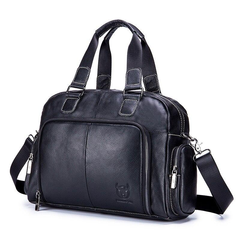 Large Genuin Leather Bag Men Vintage Style Briefcase Black Real Cow Leather Bag For Man Messenger Office Work Laptop Handbag0006