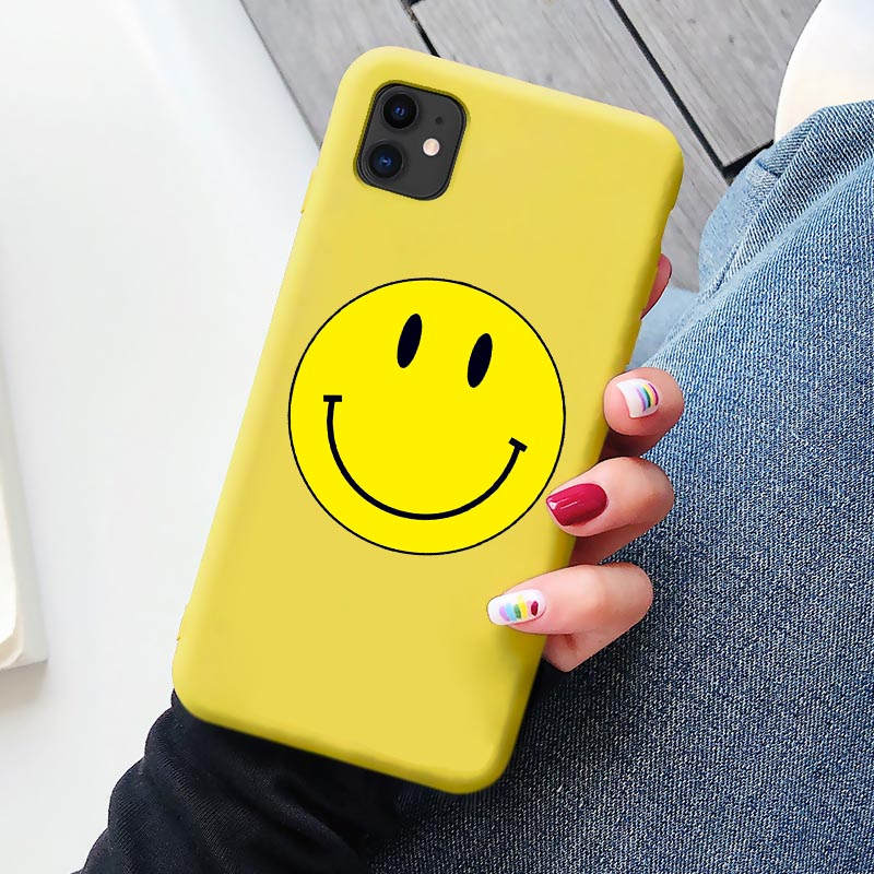 Cartoon Funny Fresh Smile Phone Case For iphone 12 11 Pro Max 6s 7 8 Plus XR Soft Yellow Smile Cover for iphone X XS MAX SE2020