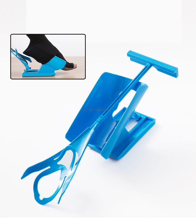 1pc Sock Slider Aid Blue Helper Kit Helps Put Socks On Off No Bending Shoe Horn Suitable For Socks