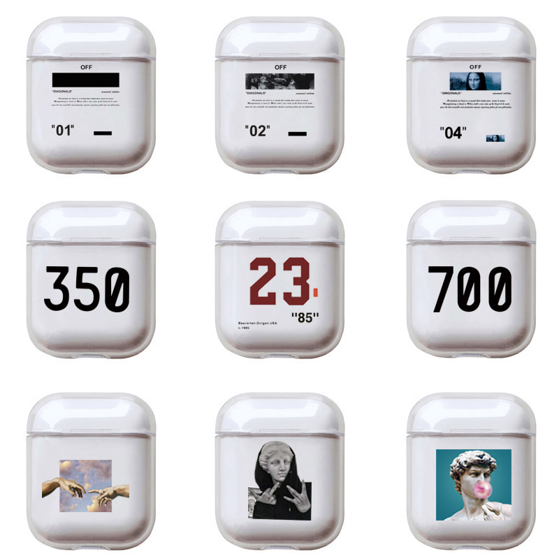 Cartoon Letters Hard Case For Apple Airpods 2 Cover Luxury Transparent Earphone Case Simple Cute Art Headset Box For Airpod Pro