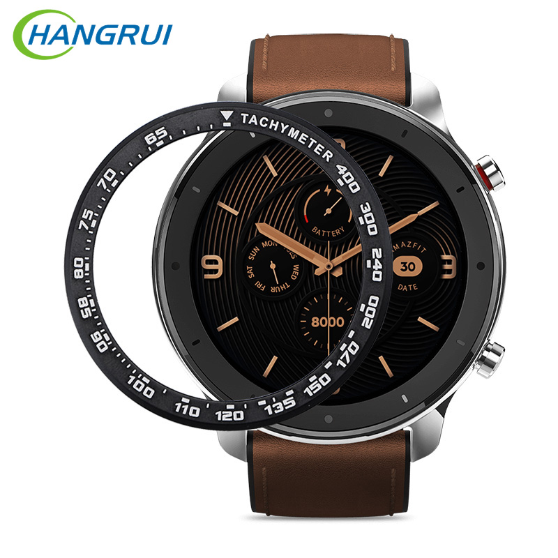 Hangrui Case For Amazfit GTR 47mm Metal Outer Edge Cover For Xiaomi Amazfit GTR 47MM Bezel Ring Dial Scale Speed Tachymeter Case