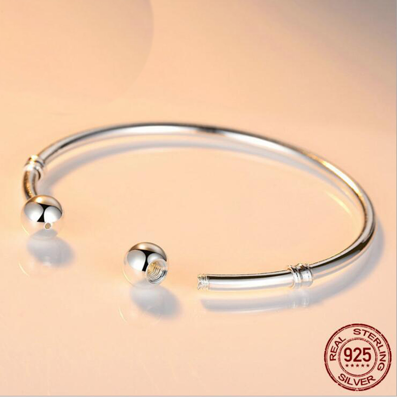 YANHUI 100% Original 925 Solid Silver Bangle Bracelet Fit European Charms Beads Bracelet Silver 925 Jewelry DIY Gift For Women