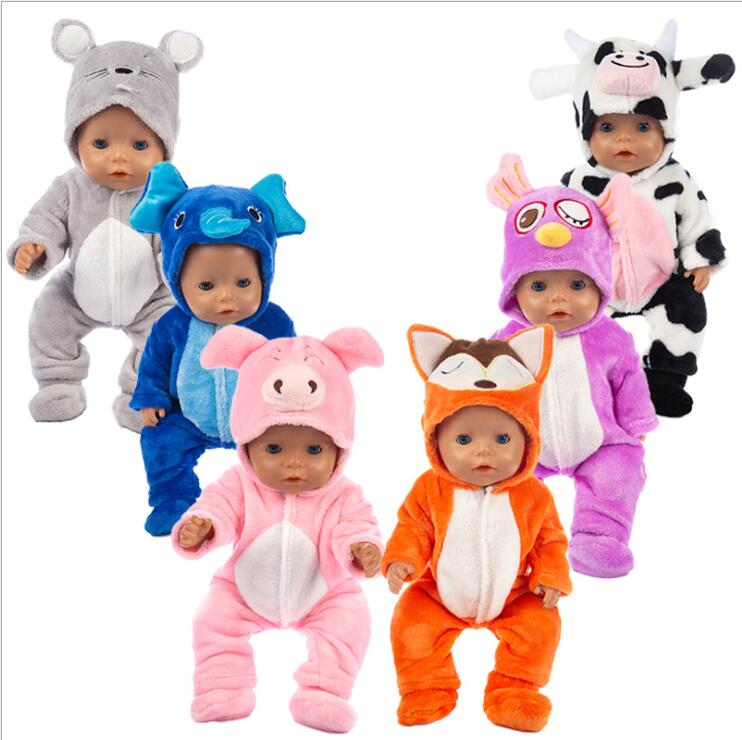 2019 New Animal Jumpsuits+shoes Fit 17 Inch 43cm Doll Clothes Born Baby Doll Clothes Suit For Baby Birthday Festival Gift