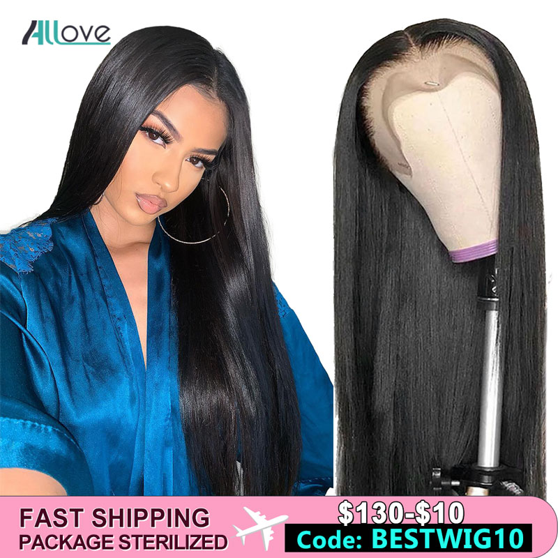 Allove 360 Lace Frontal Wig Pre Plucked With Baby Hair Straight Human Hair Wigs For Women Brazilian Lace Front Wig 250 Density
