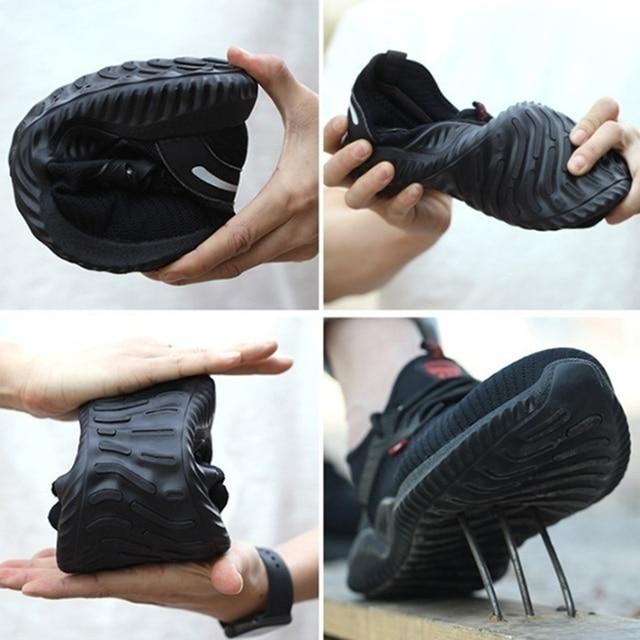 Sapatos indestrutíveis homens sapatos de trabalho de segurança com aço toe cap puncture-proof botas leves tênis respirável dropshipping 5
