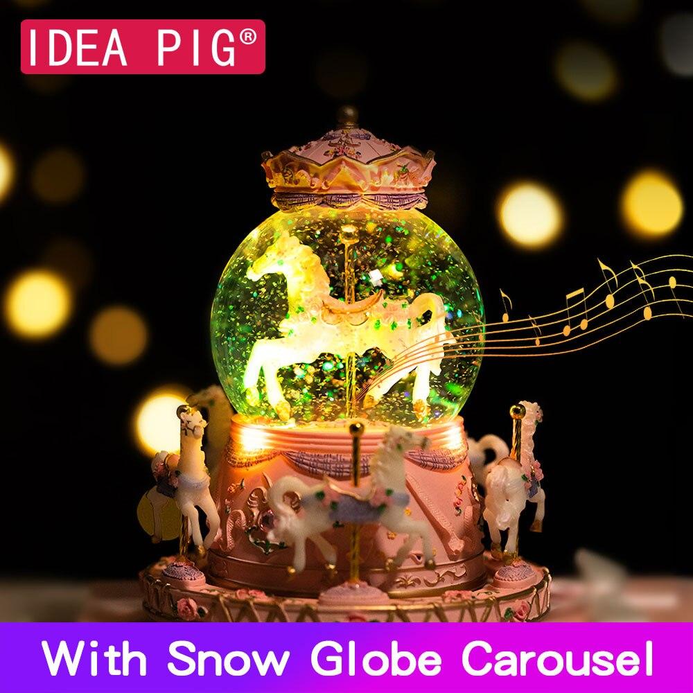 7 couleurs lumière bricolage boîte à musique musicale carrousel Musical cheval boîte boule boule de neige pour joyeux anniversaire cadeau petite amie femme jouets