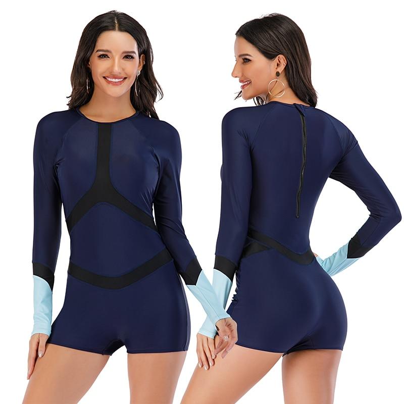Mesh Front Long Sleeve Swimwear Sport Surfing Swimming Suit 15