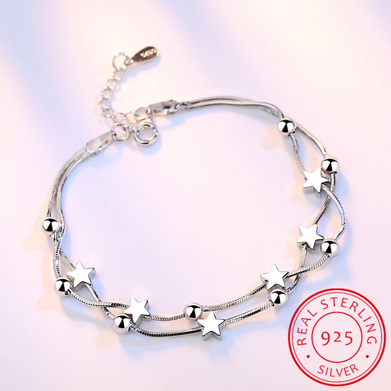 Korean Fashion Multi-layer 925 Sterling Silver Jewelry Frosted Five-pointed Star Bead Chain Box Female Bracelet SB13