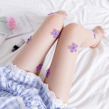 Pantimedias sexis para mujer, medias con diamantes de imitación, bordado de flores, vestido de fiesta, estilo transparente, corte arbitrario, medias de seda para mujer