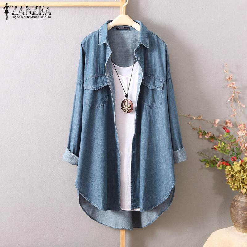 Plus Size Tunic Women's Denim Blue Blouse 2019 ZANZEA Fashion Shirt Long Sleeve Irregular Blusas Female Lapel Button Jean Tops