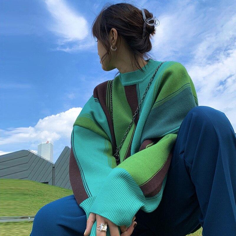 Novo outono e inverno oversize preguiçoso vento cor combinando listrado camisola feminina nova manga comprida malha pulôver topos Pulôveres    -