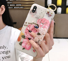 Flowers Phone Case For iphone 11 pro XS Max X XR 8 7 6 Plus Cover Wrist Strap Hand Band Cases Soft TPU Relief Coque Stand(China)