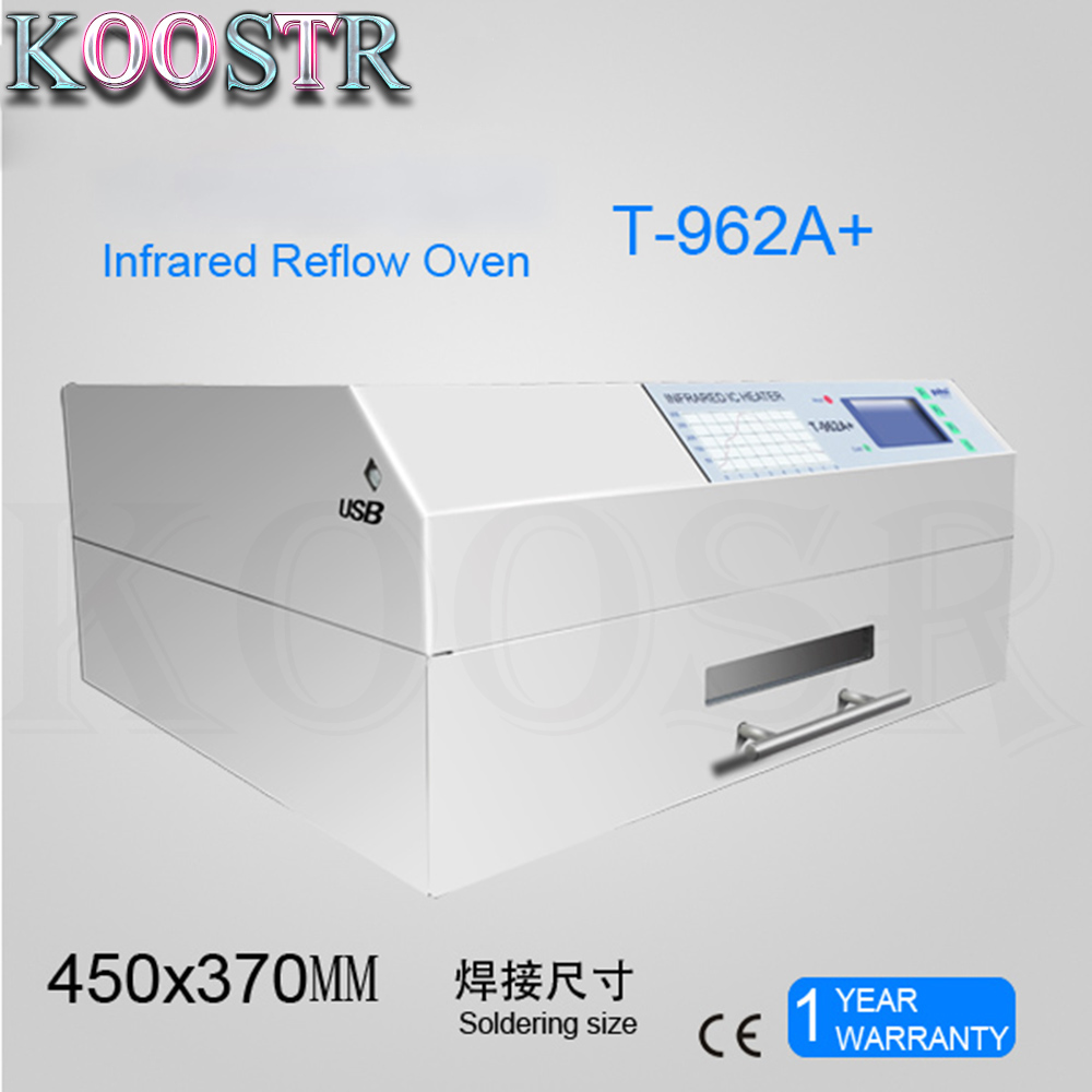 2300W PUHUI T-962A+ Reflow Wave Oven Infrared IC Heater T962A+ Reflow Oven LED BGA SMD SMT Rework Sation 450*370mm