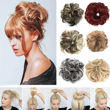 Hair Bun Extensions Wavy Curly Messy Donut Chignons Piece Wig Hairpiece,messy Bun,hair Elastic - discount item  50% OFF Synthetic Hair