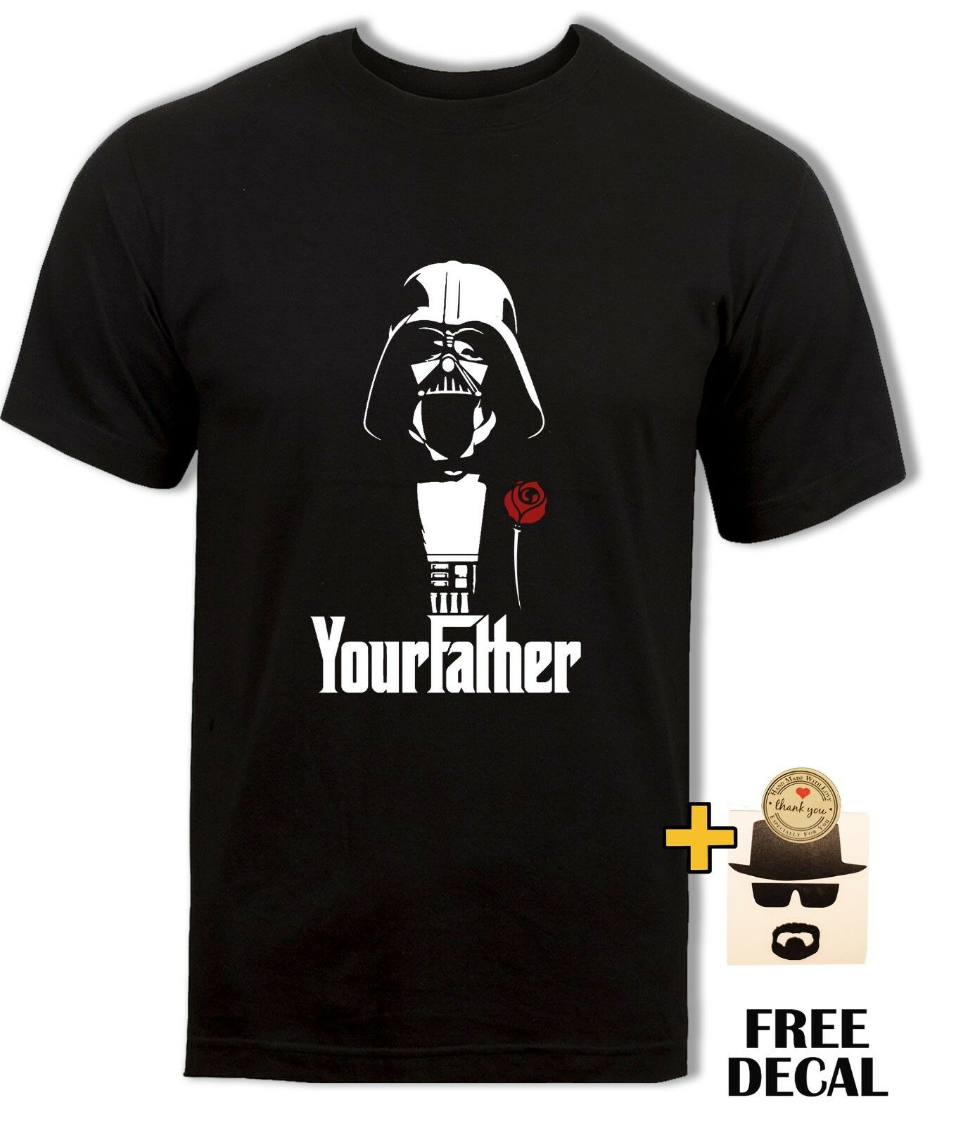 Starwars Darth Vader T-Shirt, The Godfather Parody, Your Father Men Black Tee