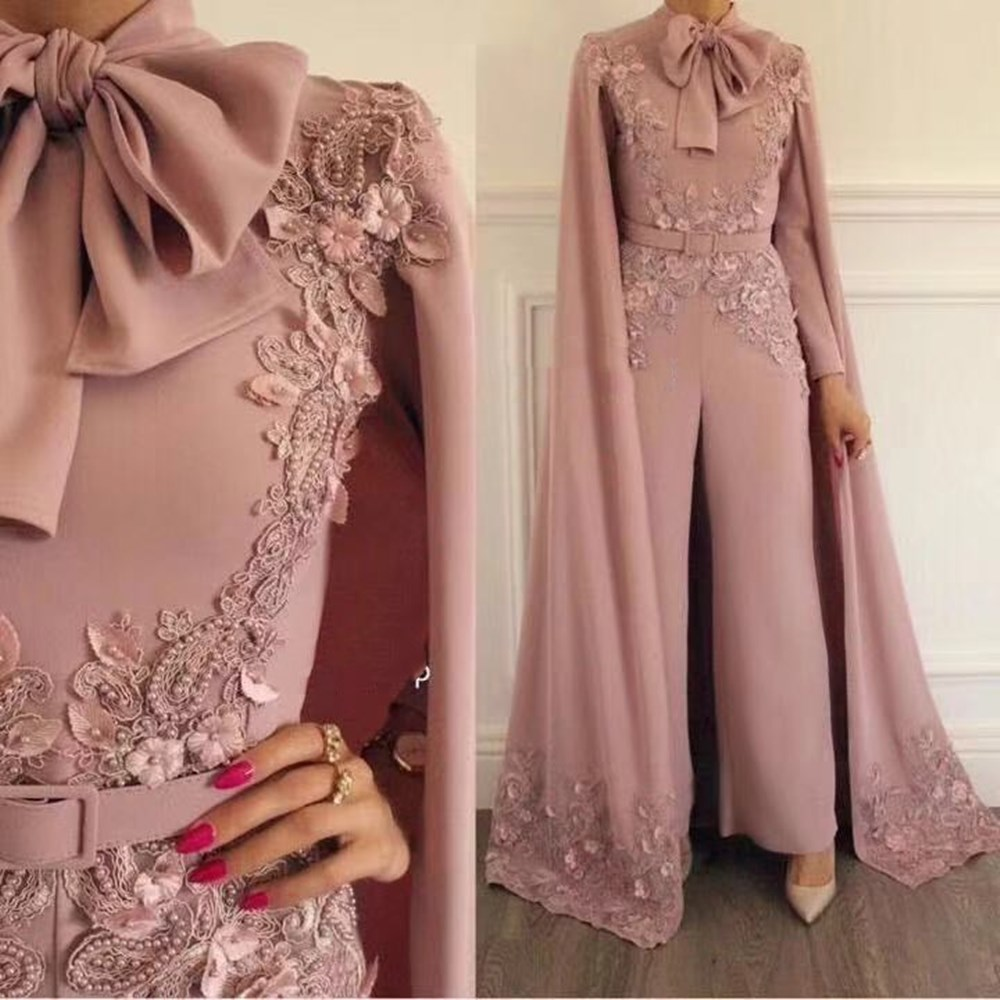 Jumpsuit Prom Dresses High Collar Bowknot Lace Appliques With Cape Chiffon Pearls Evening Dresses Pants
