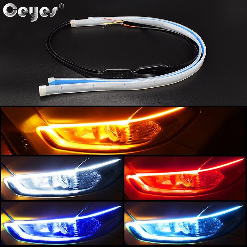 Ceyes estilo do carro drl led luzes diurnas acessórios flexível tiras de guia de freio farol auto dia tempo fluindo lâmpadas