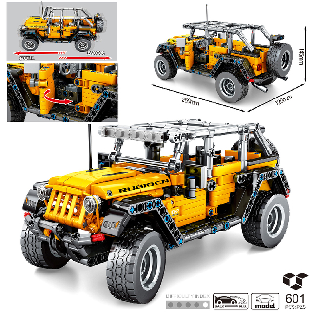 MOC 601pcs Classic Car City Pull Back Off-road SUV Car Building Blocks Bricks Model High-Tech Vehicle DIY Toys for Kids Gifts 1