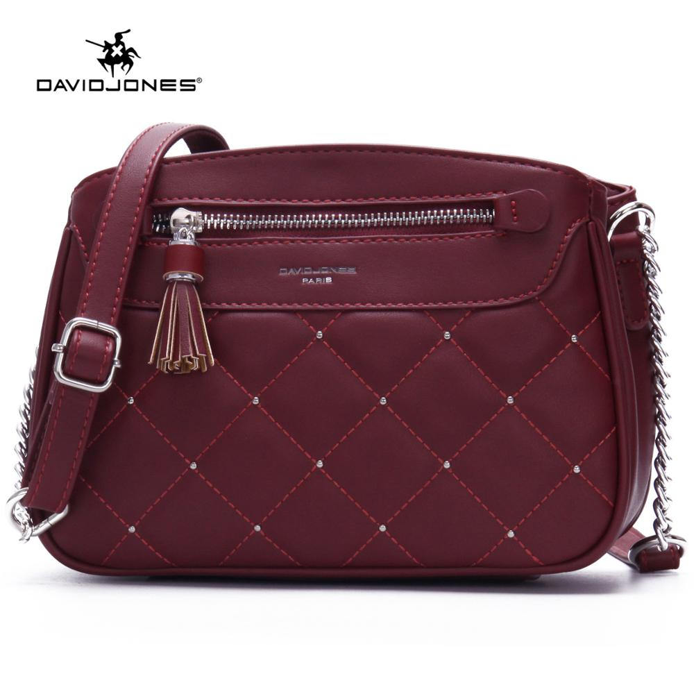DAVID JONES women crossbody bag pu leather female shoulder bag small spring rivets lady handbag girl messenger bag drop shipping