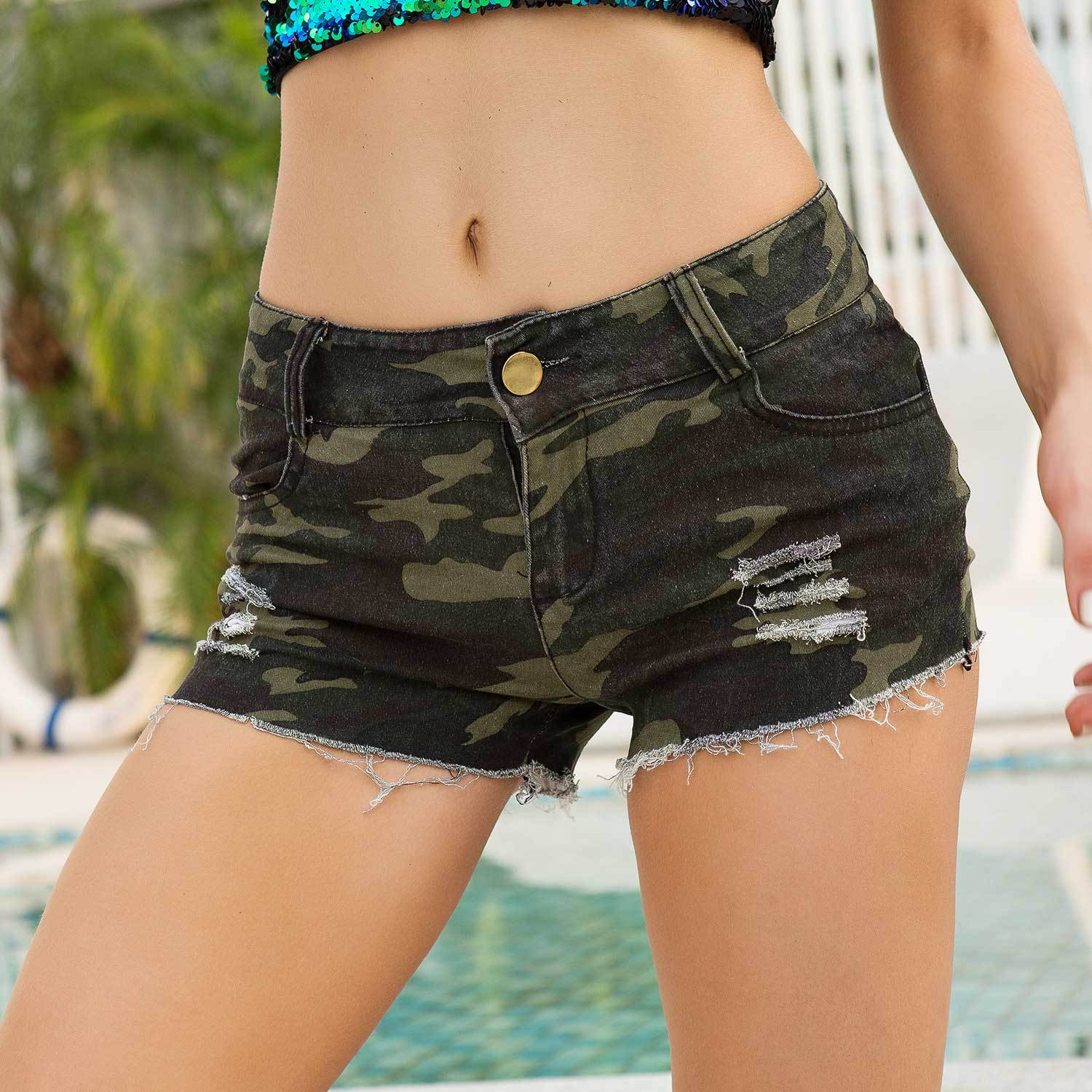 Womens Casual Micro Cotton Camouflage Jean Shorts Mujer 2020 Summer Woman Ripped High Wasted Camo Mini Denim Short Pants Women