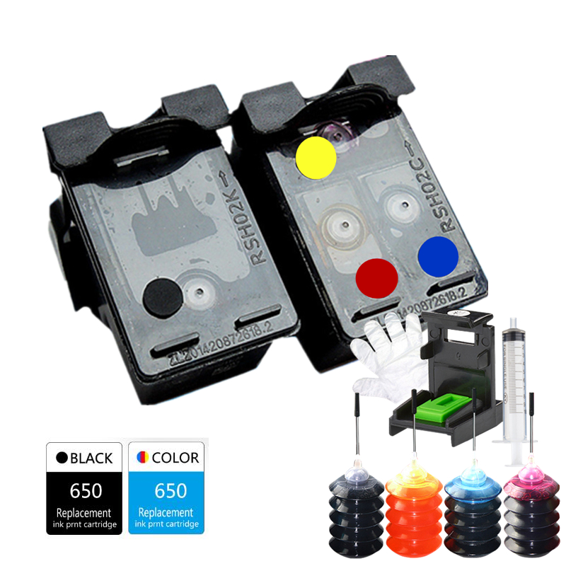 GraceMate 650 650 XL Refillable Ink Cartridge Compatible for <font><b>HP</b></font> Deskjet 1015 1515 2515 2545 2645 <font><b>3515</b></font> 3545 4515 4645 Printer image