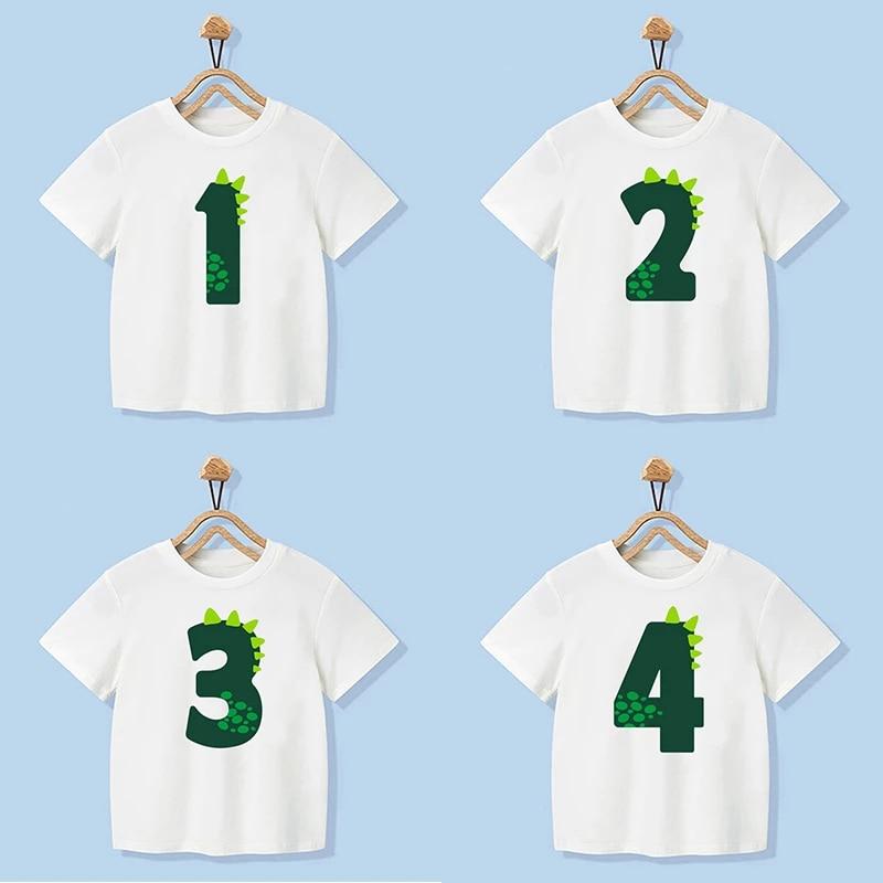 Number 1-9 Boys Girls Dinosaur Short Sleeves T-Shirts Children's Tshirt Birthday Gift T Shirt Baby Girl Tops Kids Hip Hop Tees