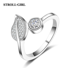 цены Strollgirl 925 Sterling Silver Tree Leaves Open Size Finger Rings Pave with Clear CZ for Women Valentine's Day Fashion Jewelry