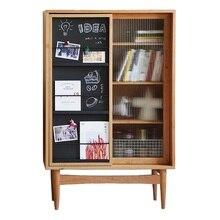 Книжный шкаф с скользящей дверью досок и журнальной витрины
