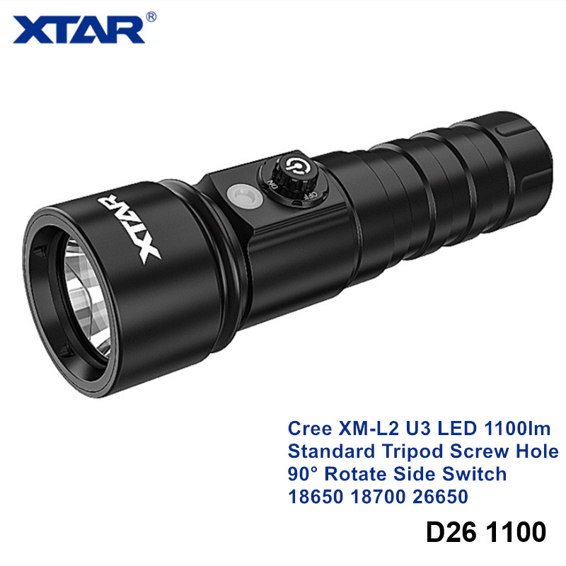 Xtar D26 1100 Cree XM-L2 High Power LED Diving Light 18650 18700 26650 Rotating Switch Underwater Torch with Tripod Screw Hole