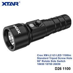 Xtar D26 1100 Cree XM-L2 High Power LED Tauchen Licht 18650 18700 26650 Rotierenden Schalter Unterwasser Taschenlampe mit Stativ Schraube loch