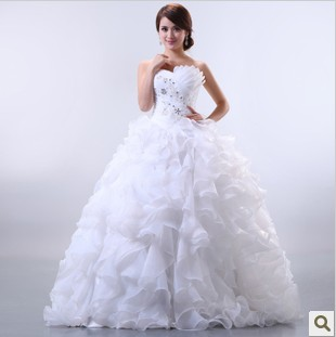 2016 Freeshipping Rushed Top Fasion Natural Ball Gown New Arrival Organza Lace Up Bride Fashion Elegant Bag Sweet Wedding Dress