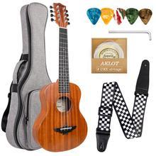 Aklot 8 String Ukulele Tenor Mahagoni 26 Zoll 18 Bünde Hawaiian Gitarre w/Tasche Strap Strings Picks für Geschenke musik Liebhaber