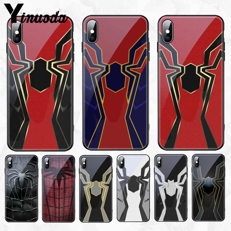 Iron Spider man Infinity War Gehard Glas Zachte Siliconen Telefoon Case Shell Cover Voor iPhone 5s se 6 6s 7 8 Plus X XR XS MAX