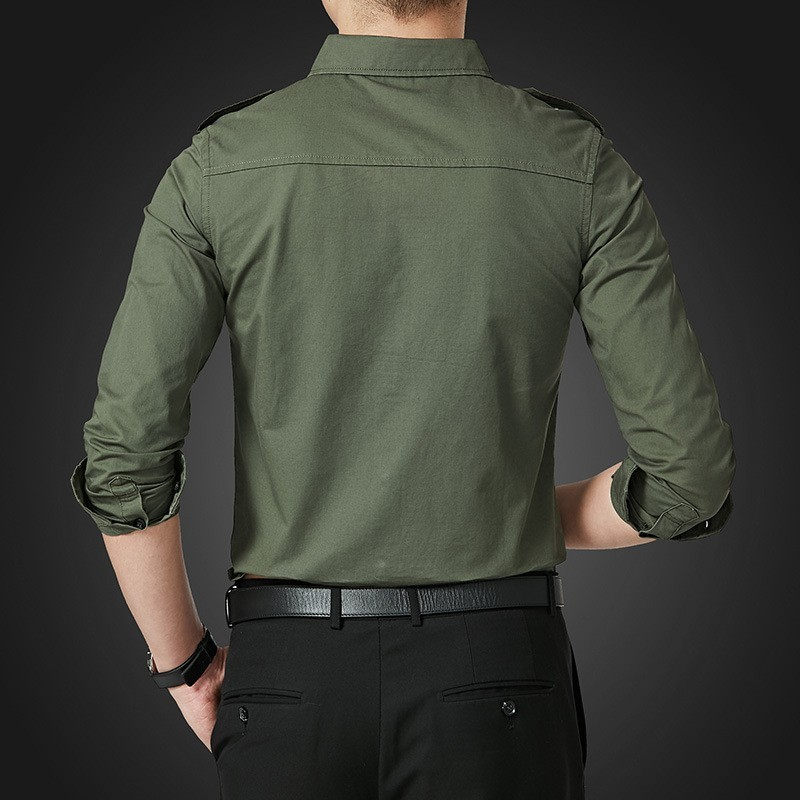 Spring Autumn Mens Long Sleeve Single Breasted Lapel Cargo Shirt Safari Style Slim Fit Korean Plus Size M-5XL Camisa Masculina
