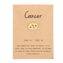 Fashion Cancer 12 Constellation Pendant Necklaces Virgo Necklace Birthday Gifts Message Card for Women Girl Jewelry