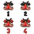 6 шт. кролик Фольга воздушные шары с рисунками зверей из мультфильмов красные, черные 32 дюймов шара с цифрой День рождения украшения детский ...
