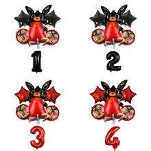 6 pçs folha de coelho balões dos desenhos animados animal vermelho preto 32 polegada número balão festa de aniversário decorações do chuveiro do bebê globos