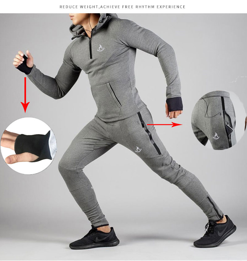 Men's Jogging Plus Velvet Sportswear Fashion Hoodies + Sweatpants 2019 New Men's Running Warm Design Plus Size Track Suits S-2XL