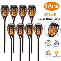 Lámpara Solar de jardín con llama parpadeante, linterna IP65, focos exteriores, decoración de paisaje, lámpara Led para caminos de jardín